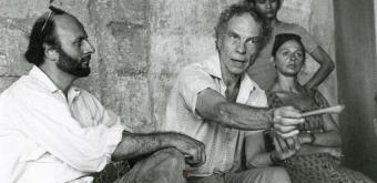 de gauche à droite Bernard Tournois, Merce Cunningham, Amélie Grand © DR - 1976